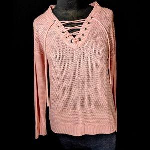 Rue 21 Pink Knitted Long Sleeve Shirt